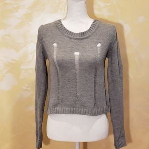 NWOT Say What? Gray Distressed Cropped Sweater